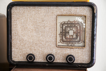 Retro vintage radio with selective focus