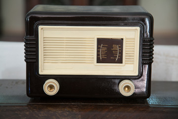 Vintage wooden radio with selective focus