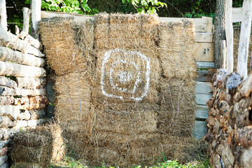 Haystack wall with painted target circle