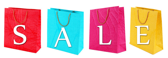 Sale concept. Colorful shopping bags, isolated on white