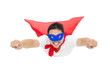superman flying with red cape. isolated on white background