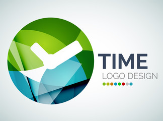 Time, clock logo design made of color pieces