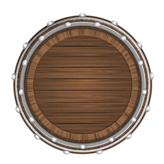 wooden barrel top object 3D design isolated
