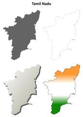 Tamil Nadu blank detailed outline map set