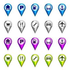 destination icon navigation set vector