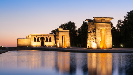 The Temple of Debod in Madrid at sunset