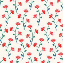 cute watercolor red poppies
