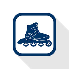 square blue icon  inline roller skate boot - symbol of sport