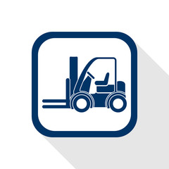 square blue icon forklift truck - symbol of logistic