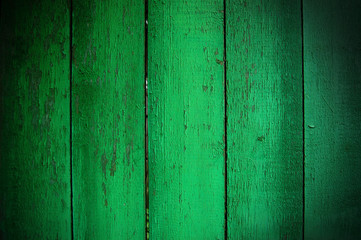 Green wooden palisade background
