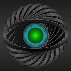 Abstract 3d pattern eye figure - vector black background