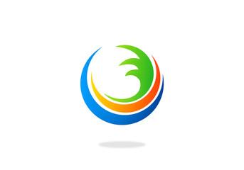 water earth abstract circle swirl logo