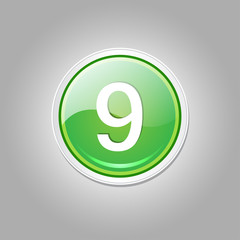9 Number Circular Vector Green Web Icon Button
