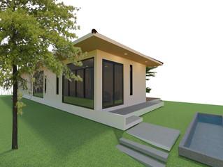 The modern home design. 3D image.