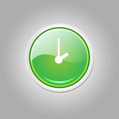 Clock Circular Vector Green Web Icon Button