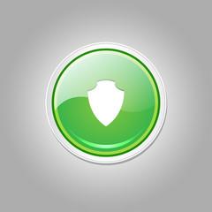 Shield Circular Vector Green Web Icon Button
