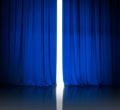blue theater or cinema curtains slightly open and white light be