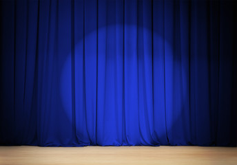 theatre blue curtain with wooden stage