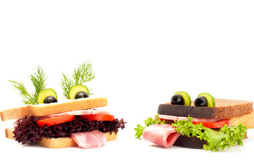 Two funny sandwich for child, isolated on white background.