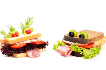 Two lovers funny sandwich for child, isolated on white backgroun