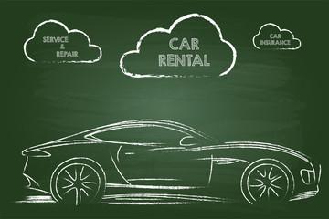 Car Rental Services Sketch On Green Board