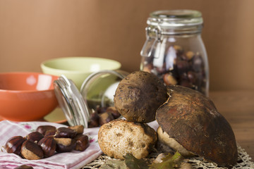 typical food of autumn chestnuts and porcini mushrooms