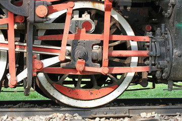 old steam locomotive iron wheel detail