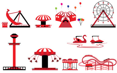 Set of Theme park and amusement vectors