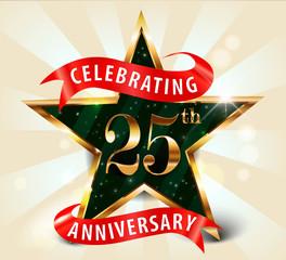 25 year anniversary celebration golden star ribbon