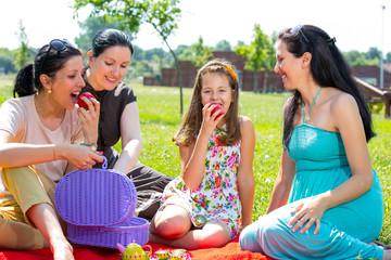 Picnic fun. Four girls having fun at a picnic