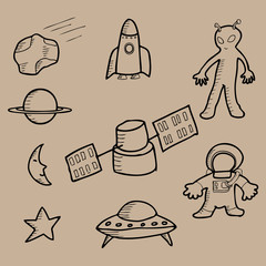 Space doodle cartoon
