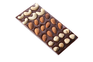 Chocolate bar with cashews, hazelnuts, almonds