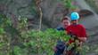 Rock climber and cameraman