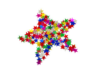 Big star composed of many colored stars on white