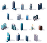 Fototapety Vector isometric city center buildings set