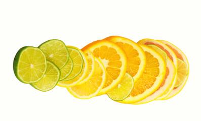 Vitamin C Overload, Stacks of sliced fruit isolated on white