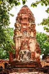 Statue of Ancient Buddha at Wat Mahatat, Thailand.