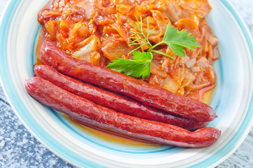 fried cabbage with sausages