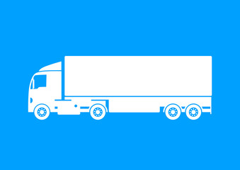 White truck icon on blue background