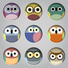 Vector set of app icons  cute owls