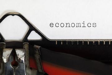 Economics written on old typewriter