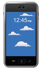Modern, touch, screen, phone, sky