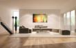 Living room con dipinto astratto