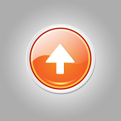Up Key Circular Vector Orange Web Icon Button
