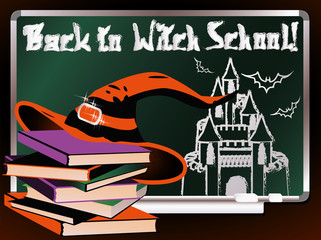 Back to Witch School. Magic card, vector illustration