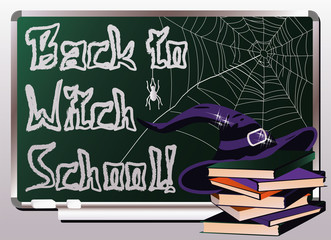 Back to Witch School. Invitation card, vector