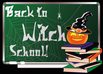 Back to Witch School. Greeting card, vector