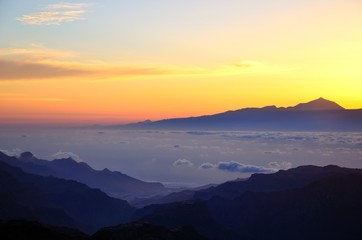 Sunset on Teide peak in Tenerife, from Gran canaria island