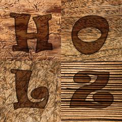 Holzarten, Schriftzug Holz