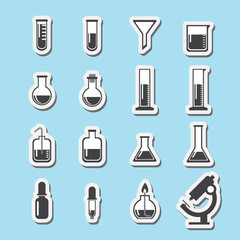 set of laboratory equipment icon